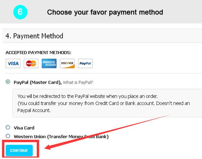 Wählen Sie Ihre Zahlungsmethode zu Gunsten